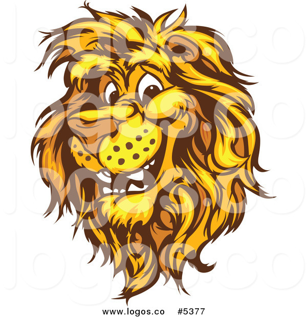 600x620 Royalty Free Vector Of A Logo Of A Happy Male Lion Head By