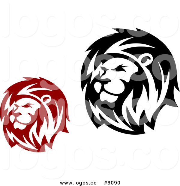 600x620 Royalty Free Of Red And Black Lion Head Logos By Vector Tradition