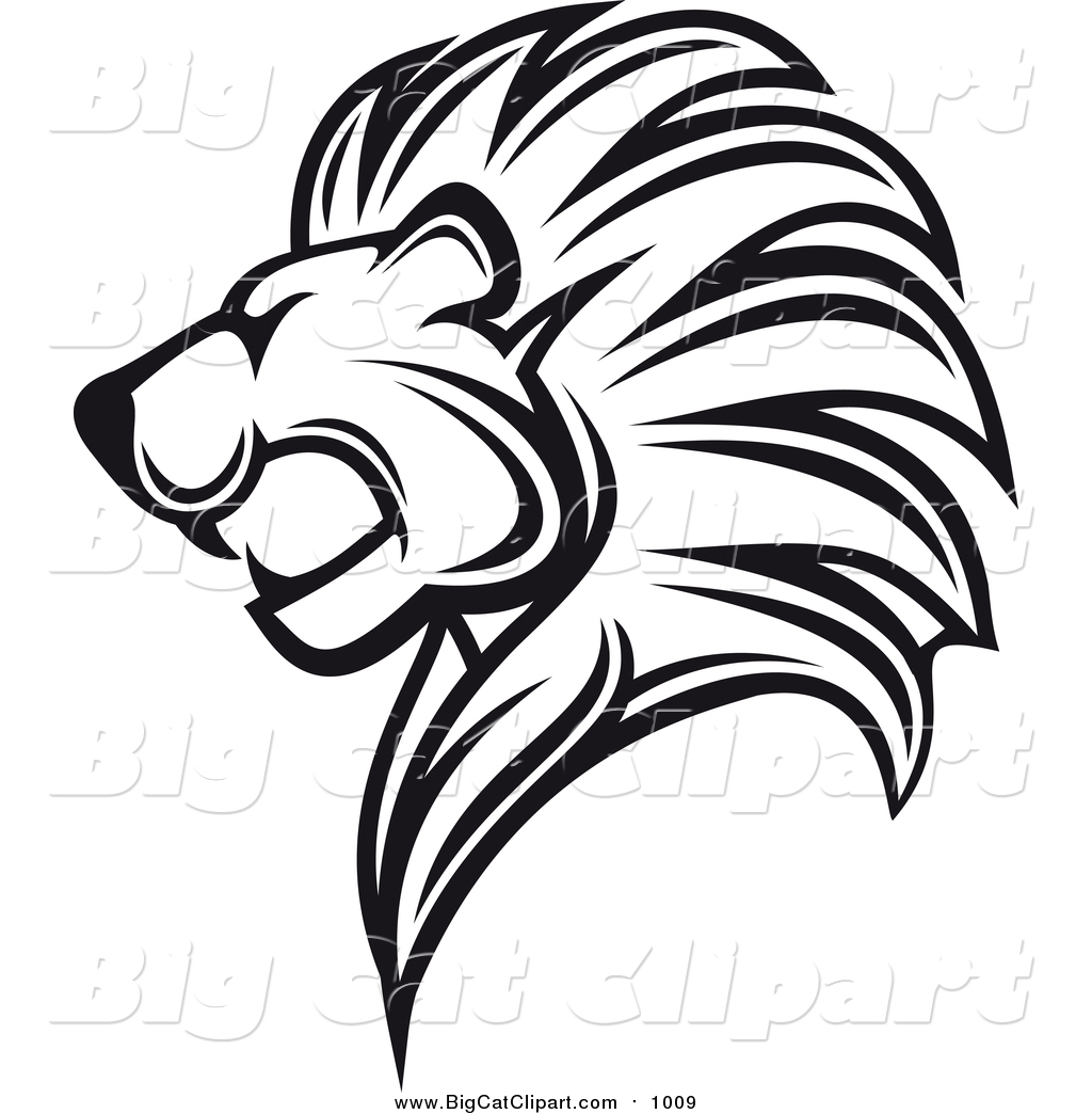 1024x1044 Big Cat Vector Clipart Of A Black And White Lion Head In Profile