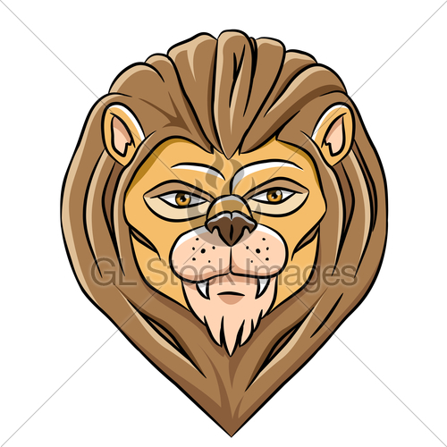 500x500 Cartoon Lion Head Gl Stock Images