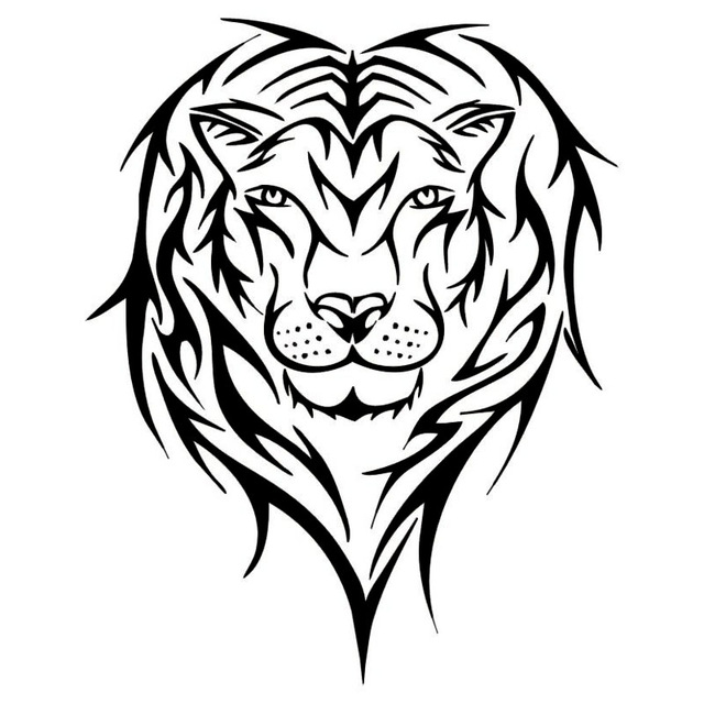 640x640 20.225.4cm Lion Face Silhouette Funny Car Door Stickers Truck