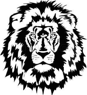 292x320 Lion Head Silhouette. Predator Much To Mane. Ferocious Wild Animal