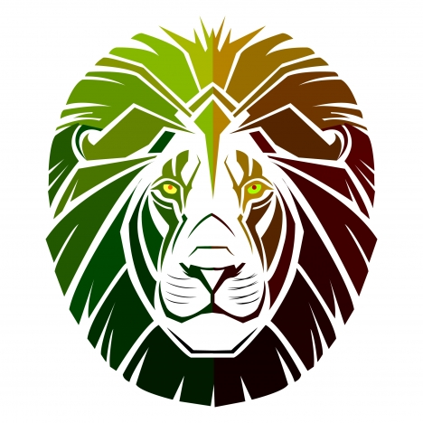 468x468 Lion Head Symbol Design With Silhouette Style Vectors Stock