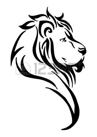 318x450 Silhouette Lion Side Head Tribal Tattoo Vector White Isolated