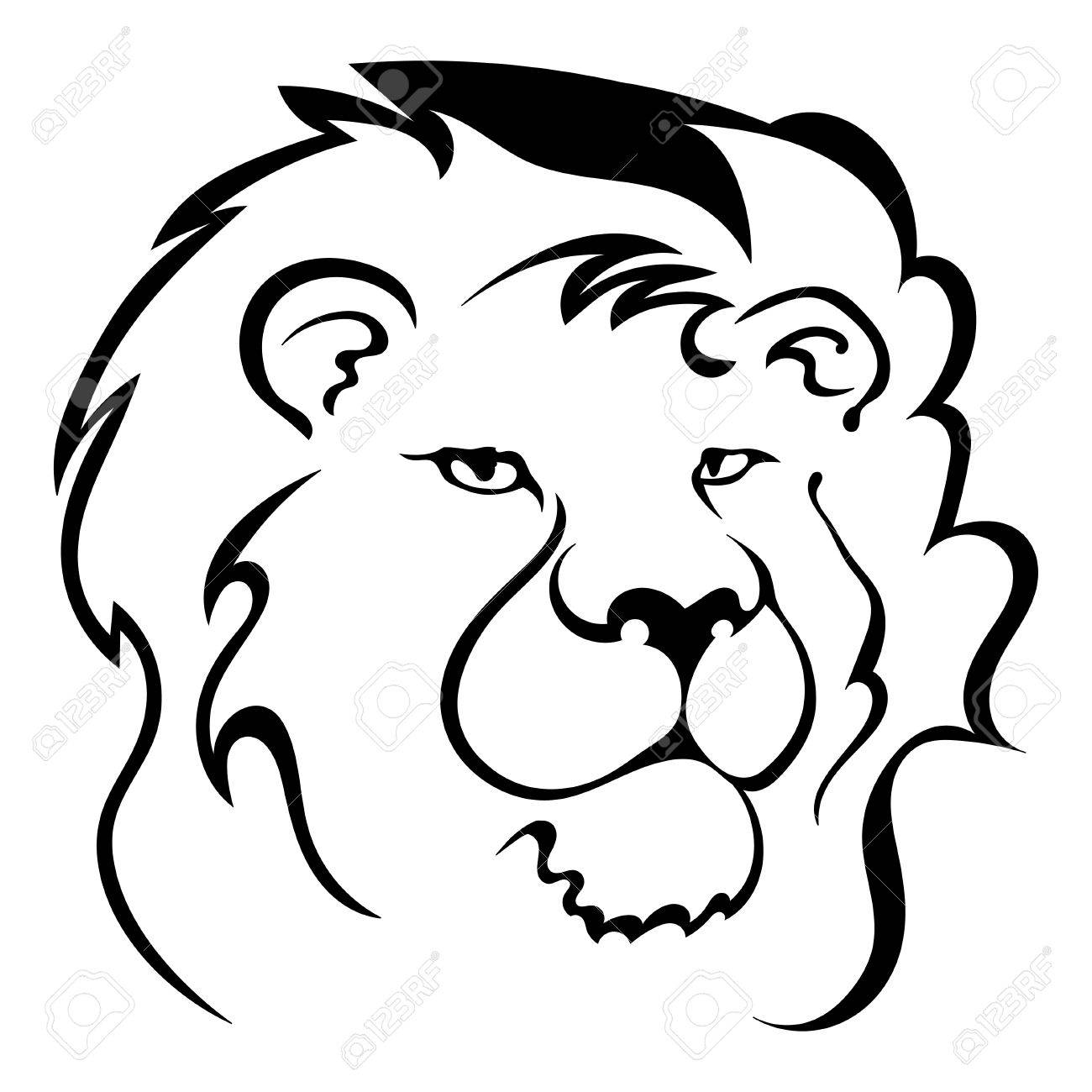 1300x1300 Silhouette Of A Lion's Head. Symbol Of The Greatness And Pride