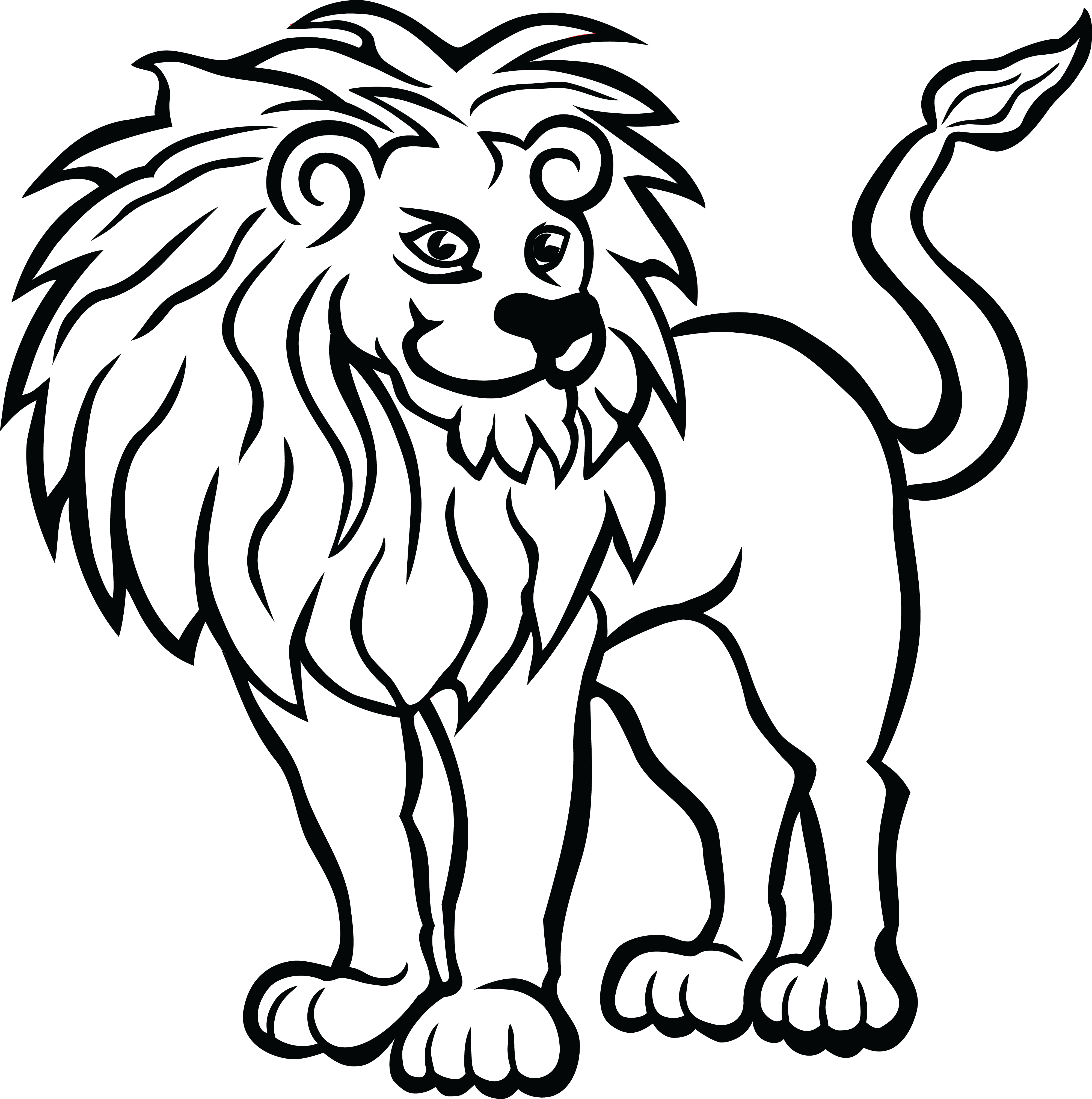 Black and white letters 2 4000x4024 free clipart of a lion