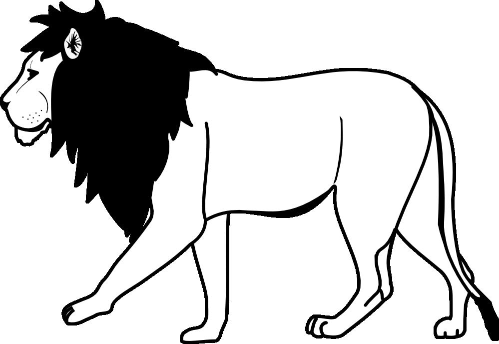 999x688 Lion Clip Art Black And White Clipart