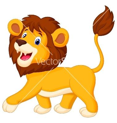 380x400 Lion Cartoon Walking Vector Jungle