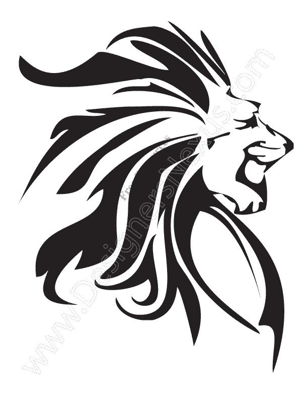 612x792 V12 Free Animal Vector Graphics Lion Clip Art Stencil