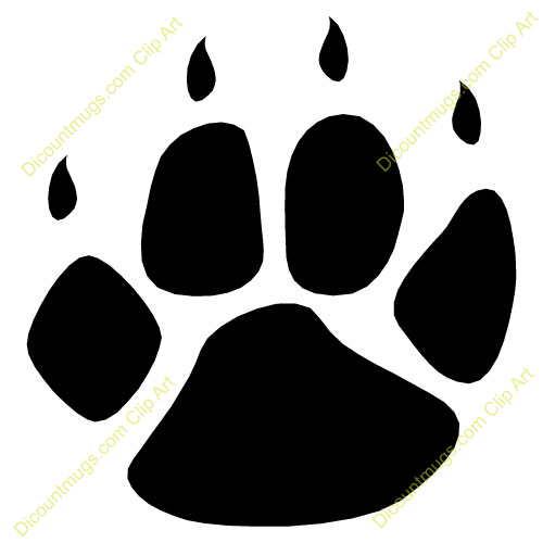 500x500 Cougar Paw Print Clip Art