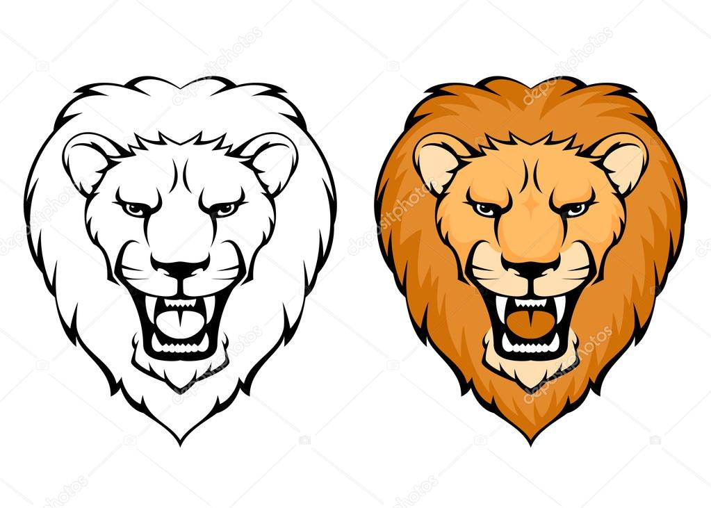 1023x731 Cartoon Lion Face Roaring Simple Illustration Of