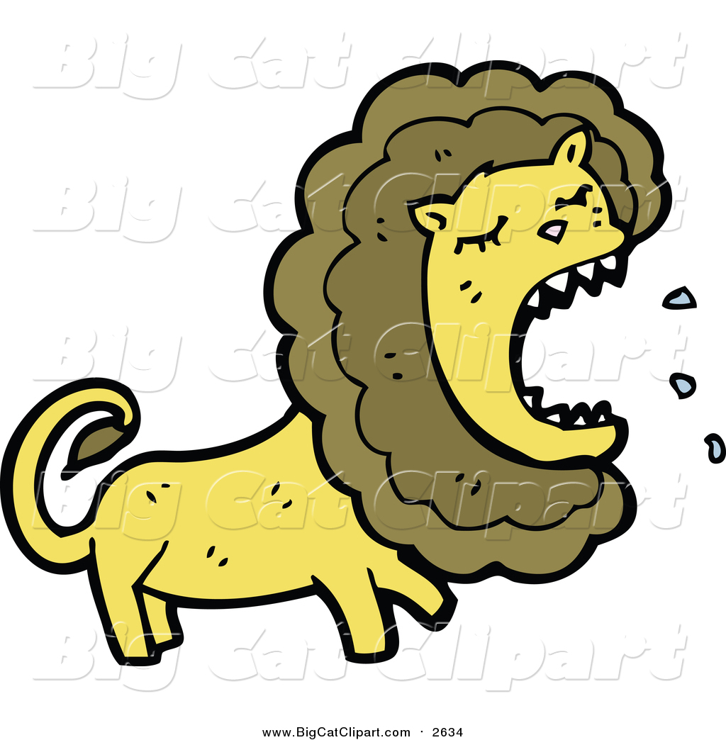 1024x1044 Cartoon Vector Clipart Of A Lion Roaring By Lineartestpilot