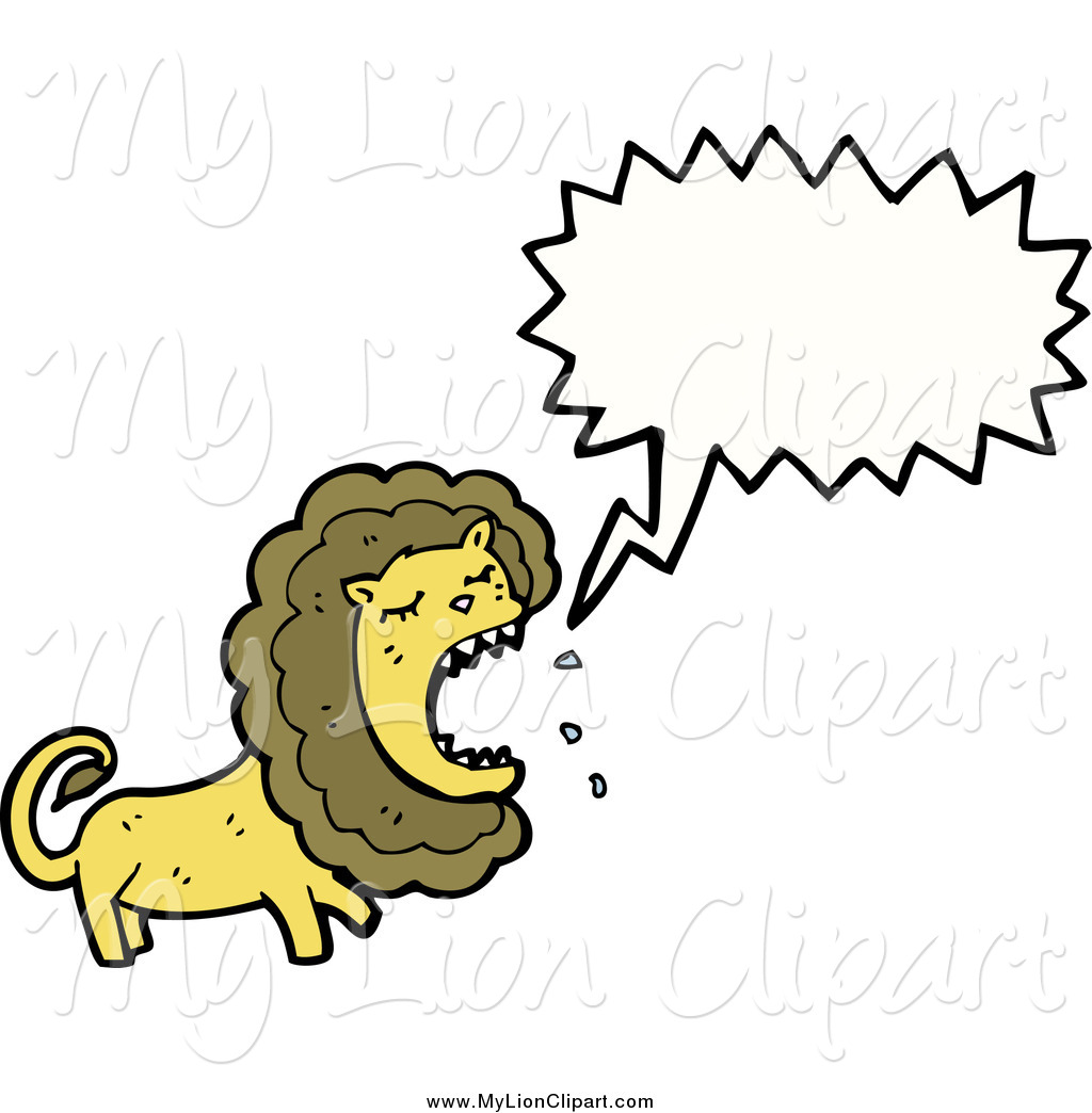1024x1044 Clipart Of A Roaring Lion With A Speech Bubble By Lineartestpilot