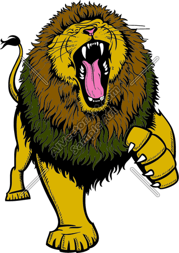 355x500 Lion Roaring With Claw Up Clipart And Vectorart Animals