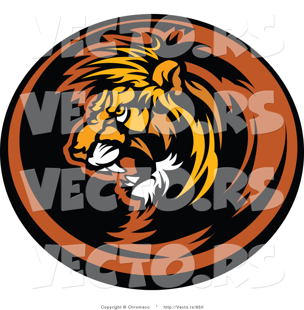 1024x1044 Vector Of An Aggressive Lion Mascot Roaring Within Circle Icon By