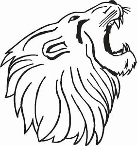 282x300 Lion Roaring Head With Mouth Open Car Decal Sticker Ebay