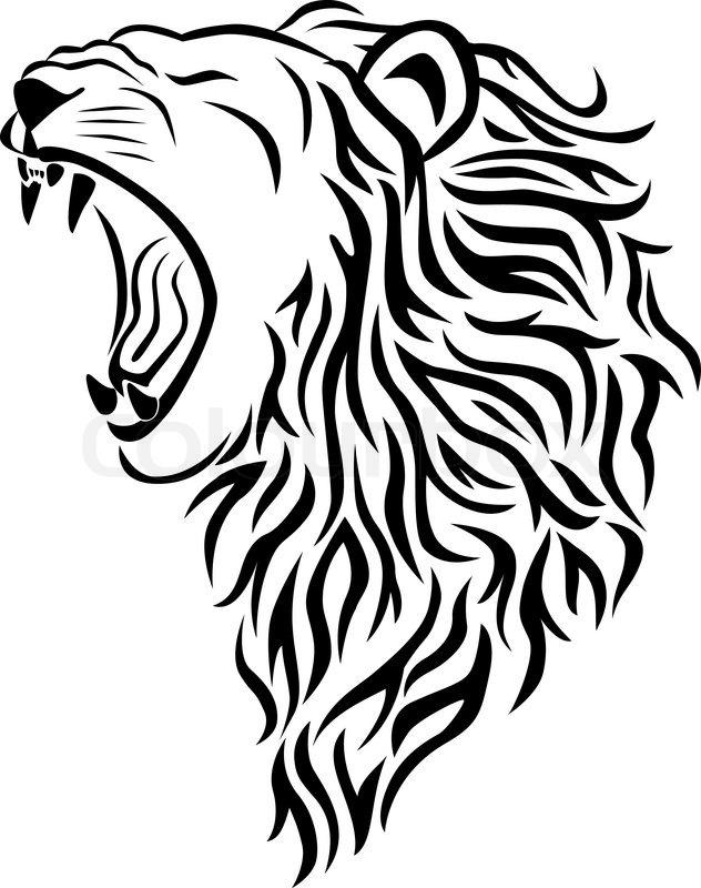 632x800 Lion Head Tattoo Stock Vector Colourbox