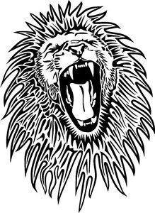 219x300 Lion Roaring Drawing