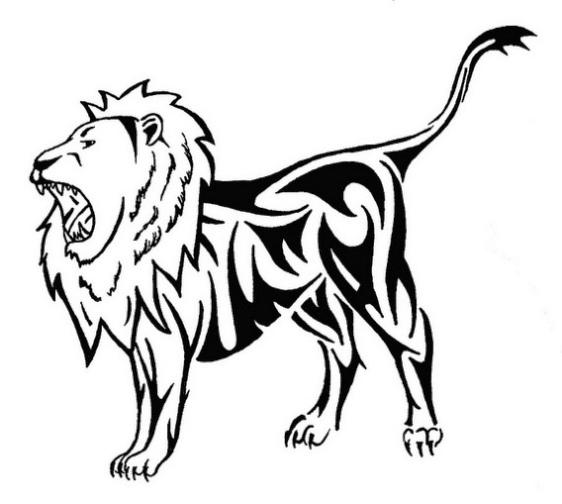 562x504 Roaring Lion Drawing Tribal