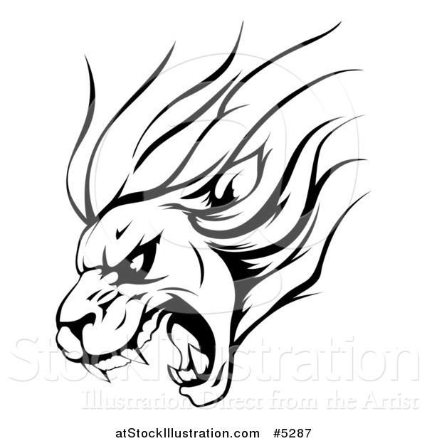 600x620 Vector Illustration Of A Black And White Aggressive Roaring Lion