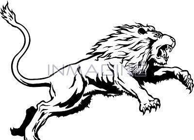 400x290 White Lion Clipart Traceable