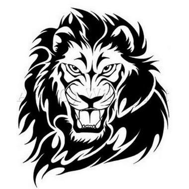 380x380 Dark Black Ink Scary Lion's Roaring Head Tattoo