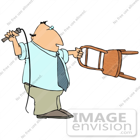 450x450 Clip Art Graphic Of A Lion Tamer Holding A Chair And A Whip