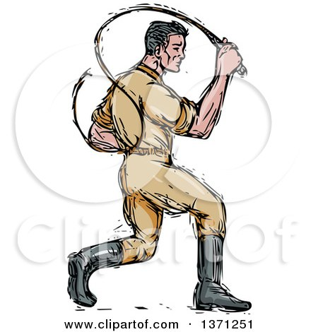 450x470 Clipart Of A Sketched Male Lion Tamer Cracking A Bullwhip
