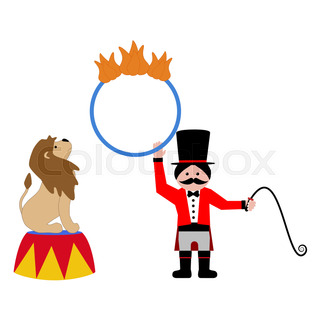320x320 Cartoon Lion Tamer With Lion Stock Vector Colourbox