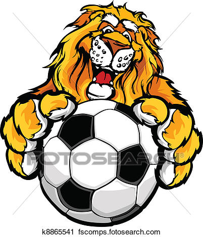 402x470 Clipart Of Cute Happy Lion Mascot With Soccer K8865541