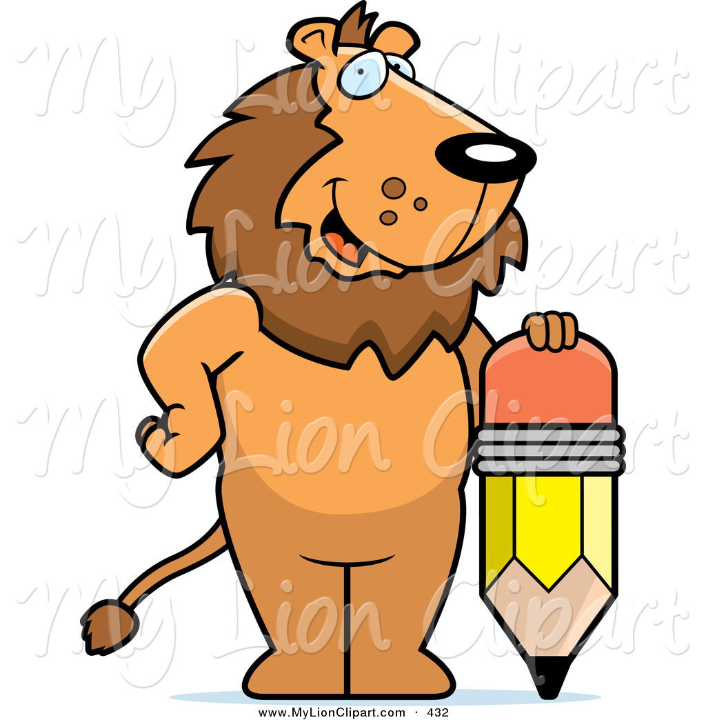 1024x1044 Clipart Of A Cute Big Lion Standing By A Pencil By Cory Thoman
