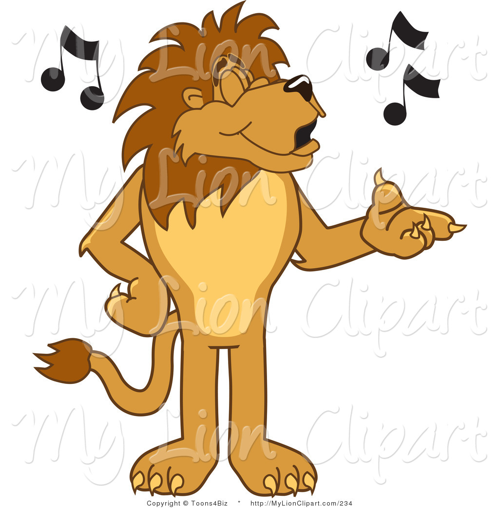 1024x1044 Clipart Of A Lion Character Mascot Singing Music Notes By