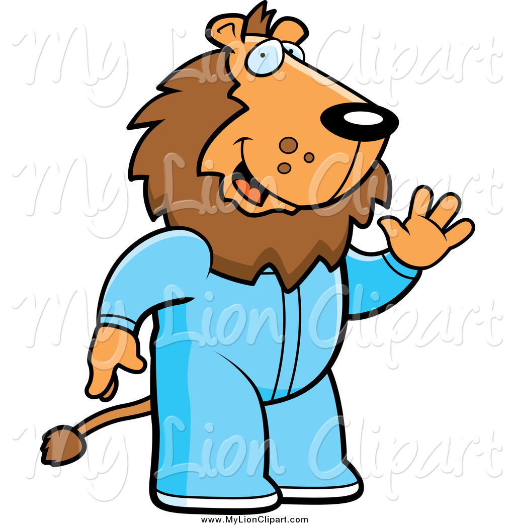 1024x1044 Clipart Of A Waving Lion In Pajamas By Cory Thoman