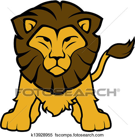 450x460 Clipart Of Lion Front View Vector K13928955