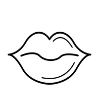 200x200 Lips Clipart Outlined