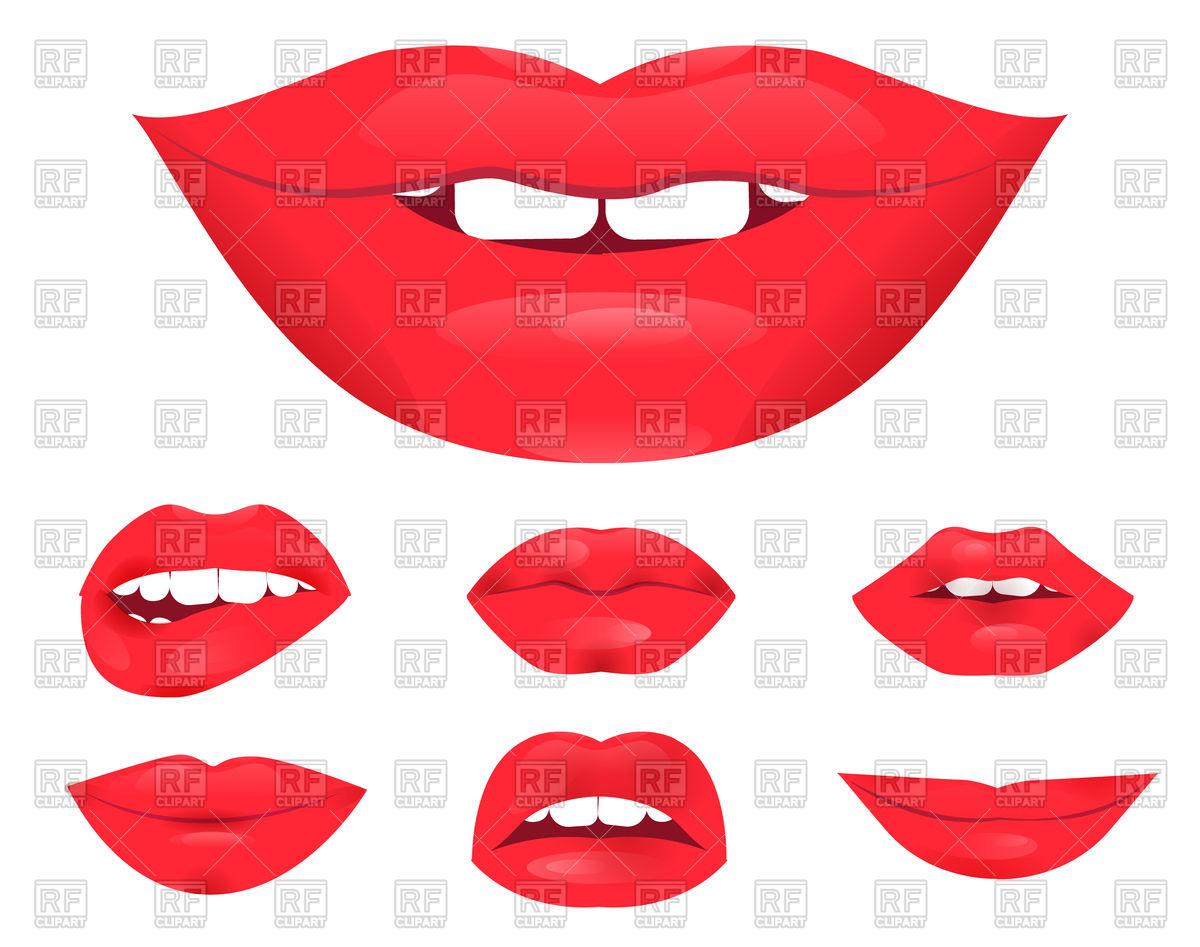 1200x947 Set Of Glamour Lips With Red Lipstick Color Royalty Free Vector