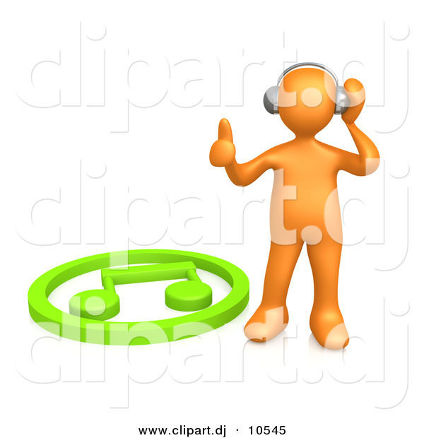 600x620 3d Clipart Of An Orange Man Listening To Music On Wireless