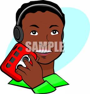 288x300 Black Boy Listening To Music Clip Art Image