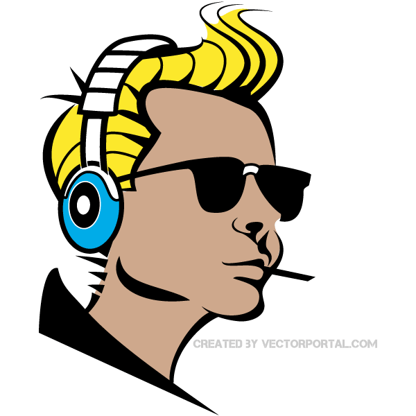 600x600 Boy Listening Music Clip Art Vector 123freevectors