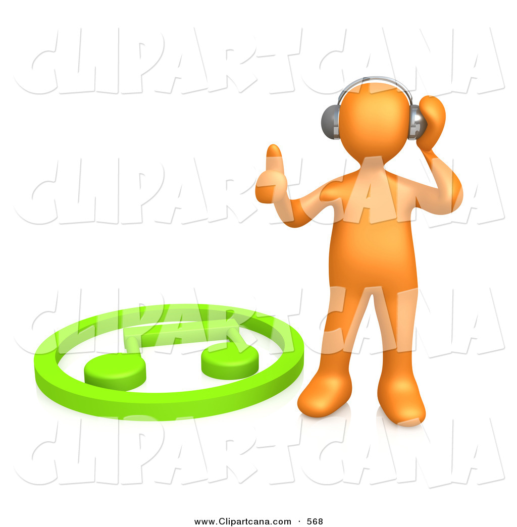 1024x1044 Clip Art Of A Groovy Orange Person Listening To Music Through
