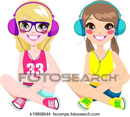 450x408 Clipart Of Teenager Girls Listening Music K19958544