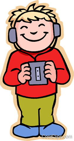 253x480 Girl Listening To Music, Tape Recorder Royalty Free Vector Clip