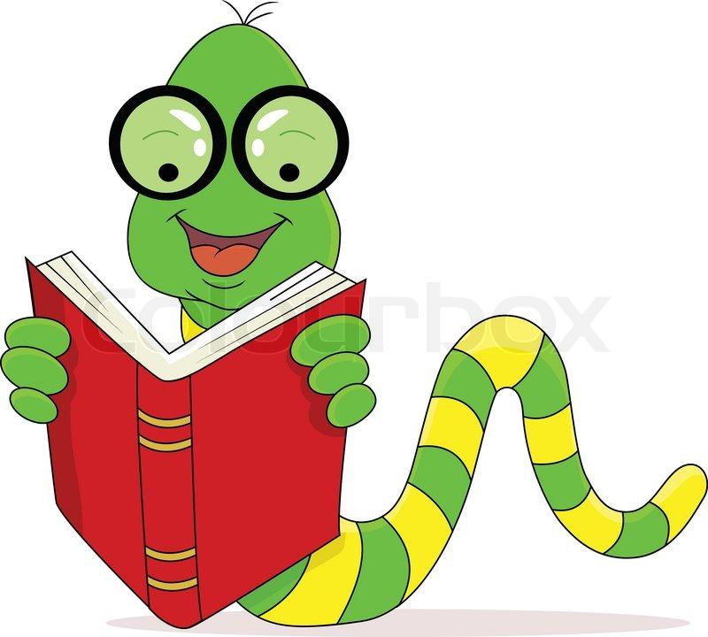 800x720 A Happy Worm Reading Book Stock Vector Colourbox
