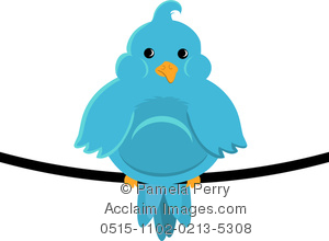 300x220 Art Illustration Of A Fat Little Blue Bird Sitting On A Wire