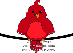 300x219 Art Illustration Of A Fat Little Red Bird Sitting On A Wire