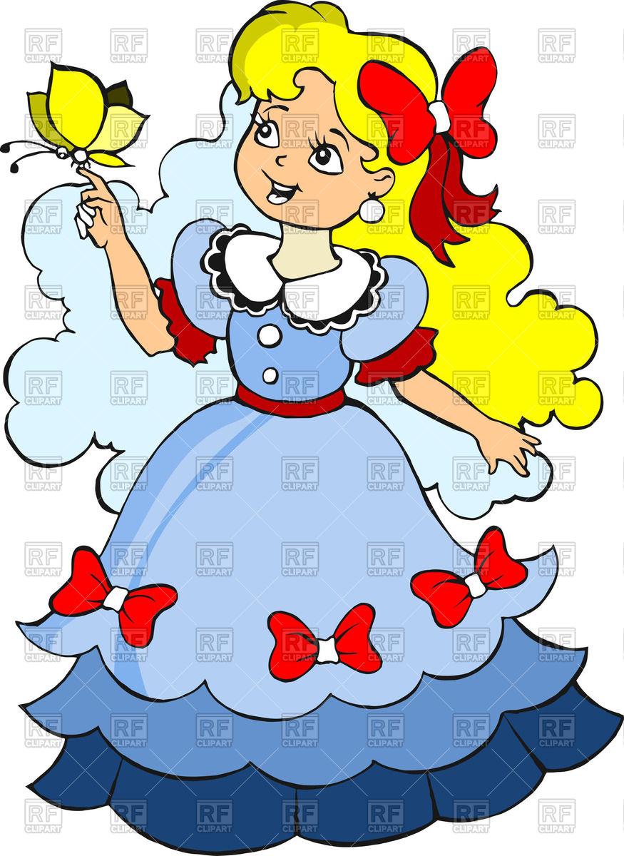 875x1200 Beautiful Little Blonde Girl In Blue Dress