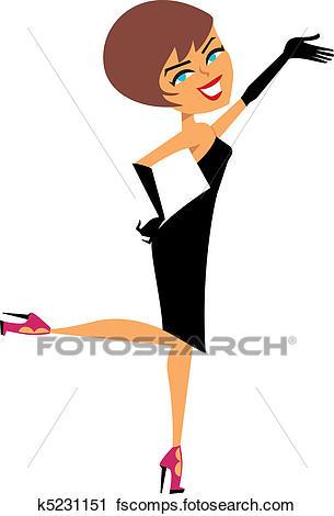 305x470 Clipart Of Cartoon Flirty Girl In Black Dress K5231151