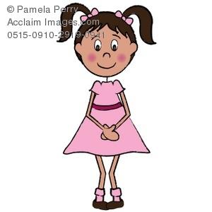300x300 Art Illustration Of A Shy Little Girl