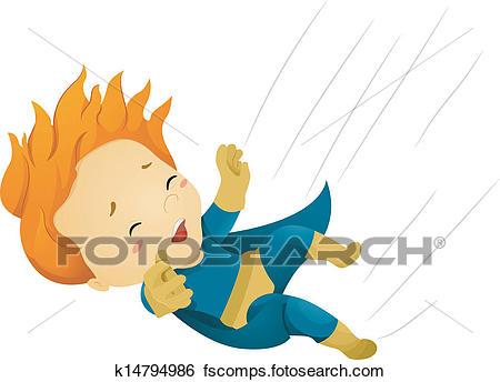 450x344 Clip Art Of Falling Little Kid Boy Superhero K14794986