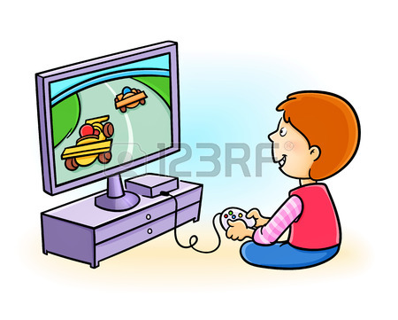 450x361 Happy Little Kid Playing Video Game Royalty Free Cliparts, Vectors